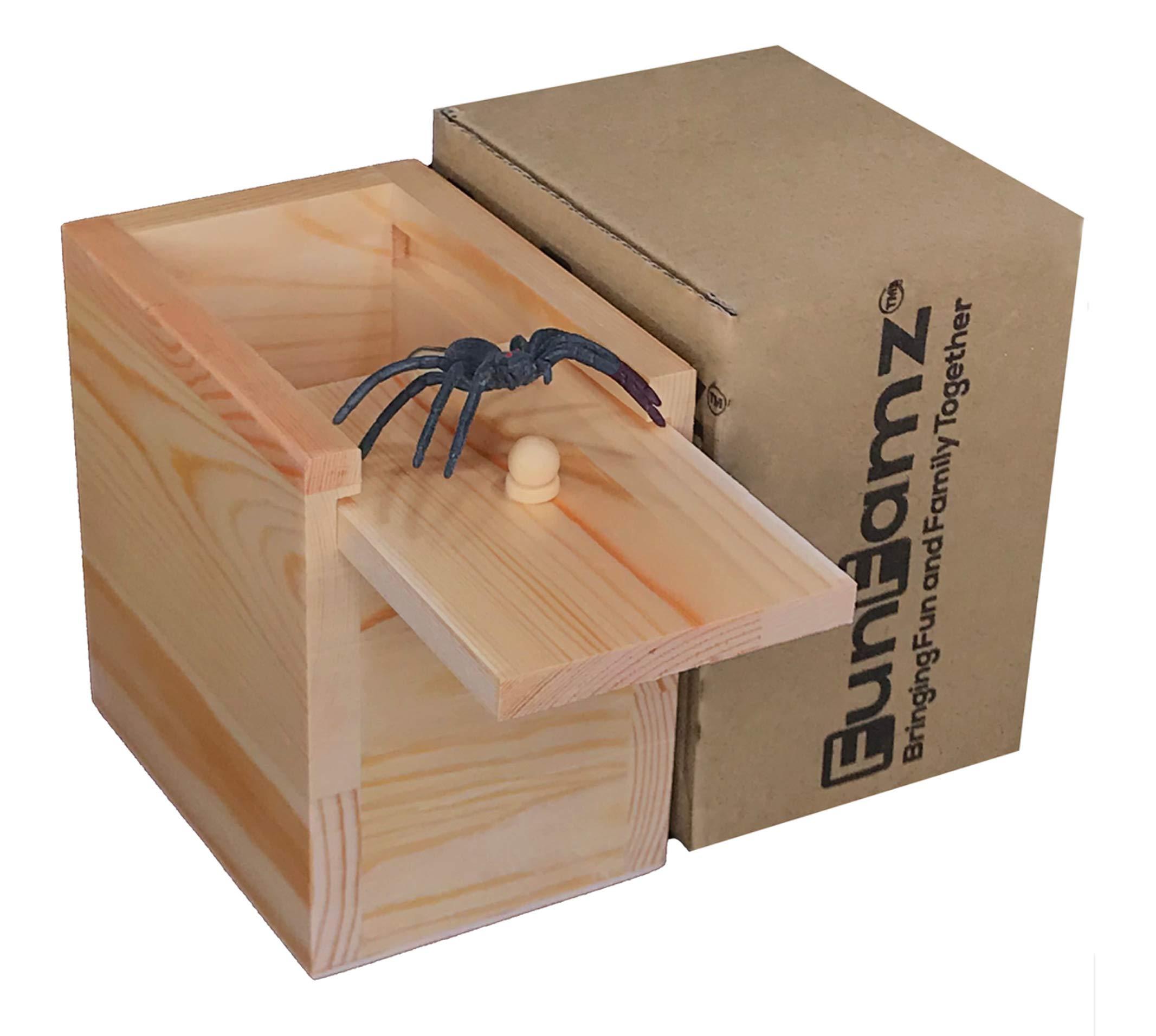 FunFamz The Original Spider Prank Box- Funny Wooden Box Toy Prank, Hilarious Money Gift Box Surprise Toy and Gag Gift Practical Joke by FunFamz