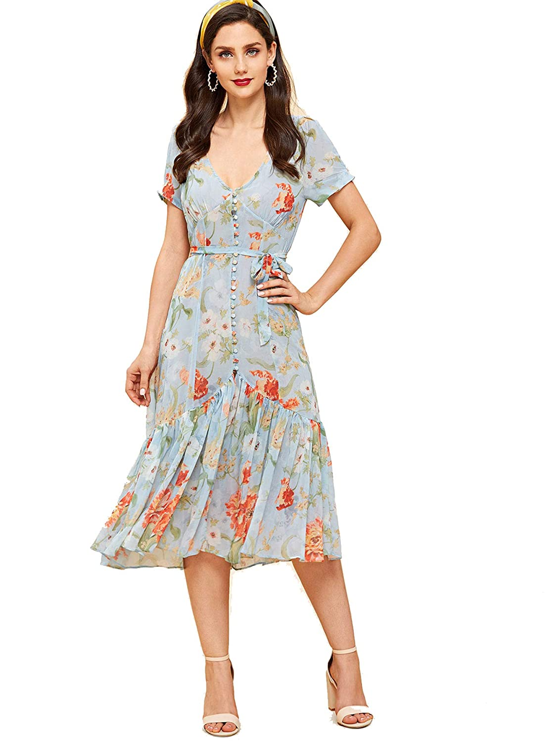1930s Day Dresses, Afternoon Dresses History Milumia Women Vintage Retro V Neck Pleated Ruffle A Line Fit Flare Party Dress $28.99 AT vintagedancer.com