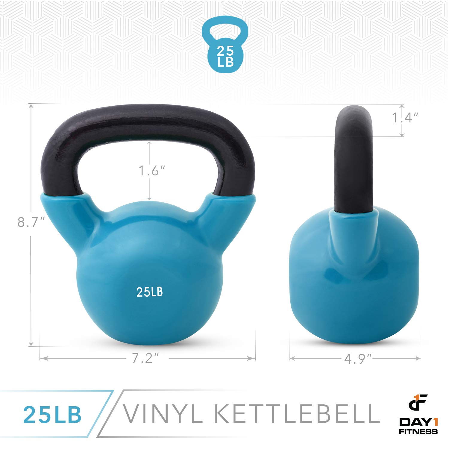 Day 1 Fitness Kettlebell Weights Vinyl Coated Iron 25 Pounds - Coated for Floor and Equipment Protection, Noise Reduction - Free Weights for Ballistic, Core, Weight Training by Day 1 Fitness (Image #3)