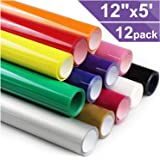 Heat Transfer Vinyl HTV for T-Shirts 12 Inches by 5 Feet Rolls (12 Pack)
