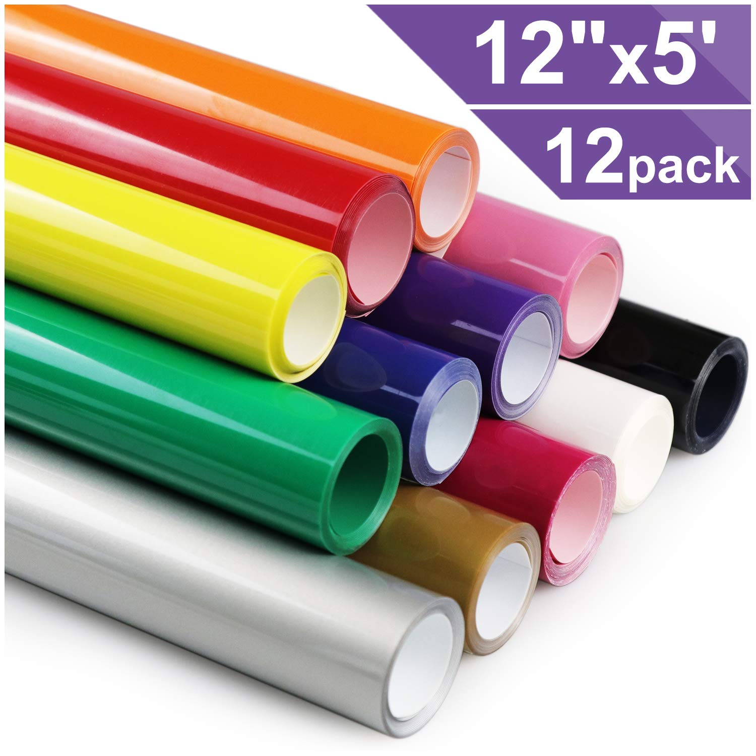 Heat Transfer Vinyl HTV for T-Shirts 12 Inches by 5 Feet Rolls (12 Pack) by ARHIKY