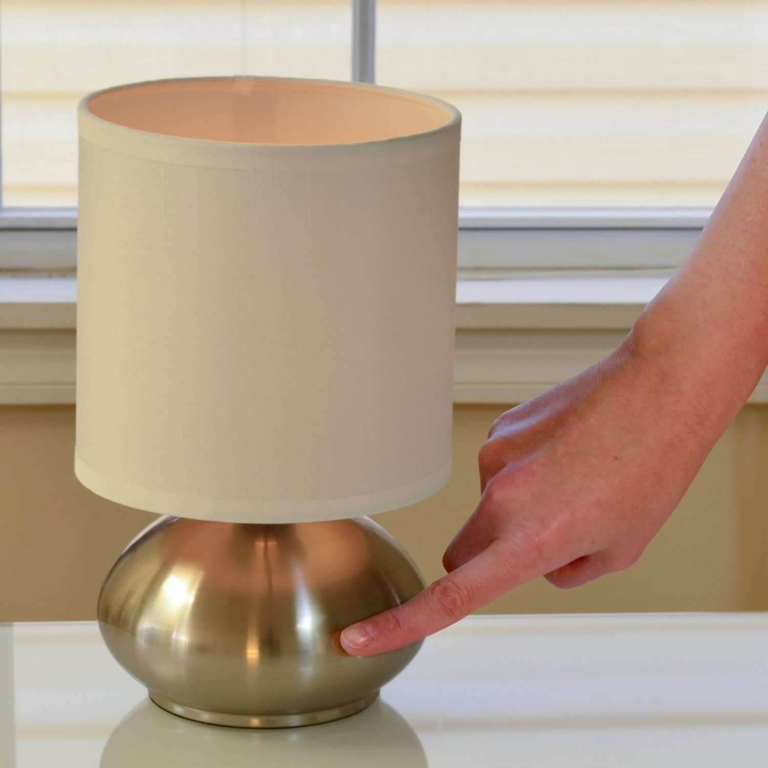 Light Accents Touch Table lamps Brushed Nickel With Fabric Shades ...