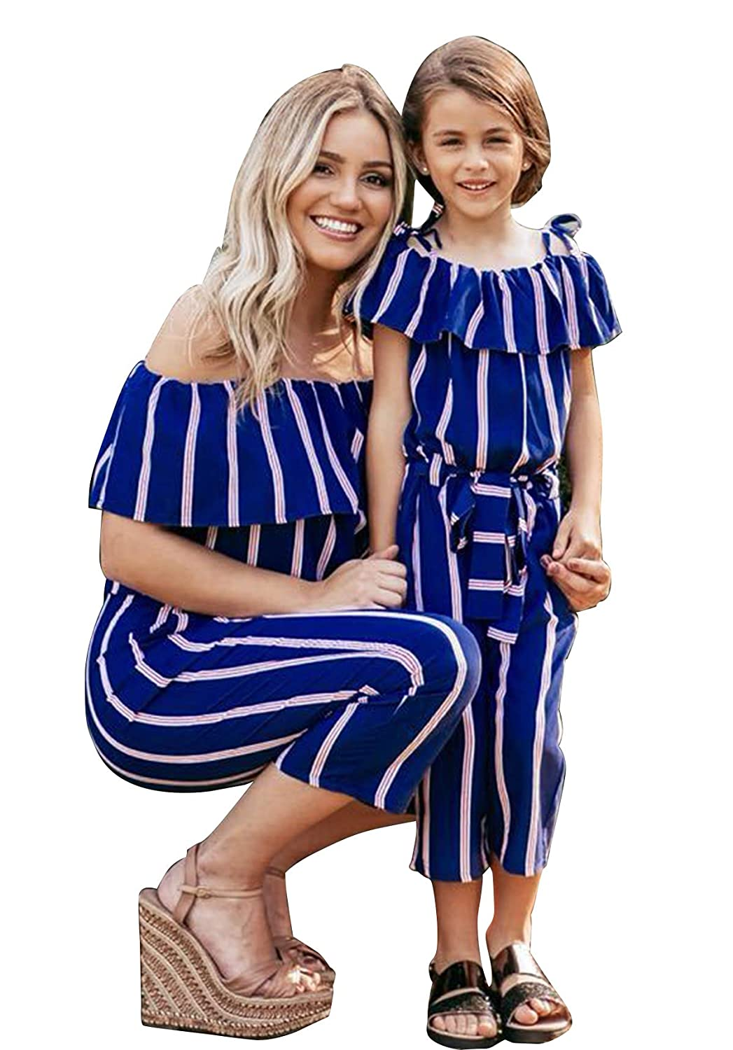 Family Matching Striped Jumpsuit Mommy/&Me Off Shoulder Long Sleeve Long Pants Romper with Belt
