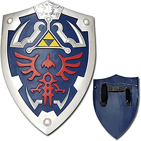 Legend of Zelda Metal Hylian Shield w// Strap LARP Anime Cosplay Triforce