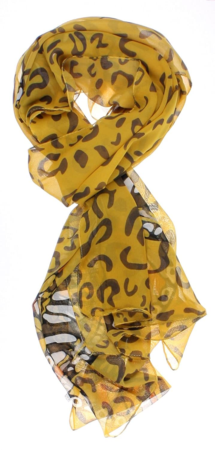 3e22cb106668e ForeverScarf Silk Thin Neckerchief Scarf with Animal Print and Butterfly,  Brown at Amazon Women's Clothing store: Fashion Scarves
