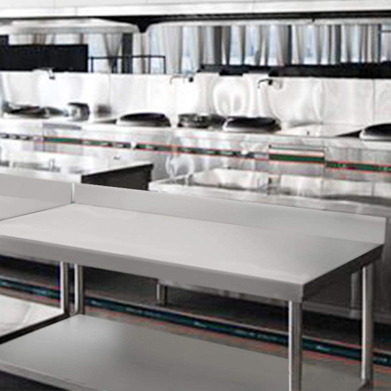 Emoshayoga con Respaldo Consola de Acero Inoxidable DuraSteel Banco de Prueba de Gran Capacidad de Carga para Preparar Alimentos para Uso Comercial