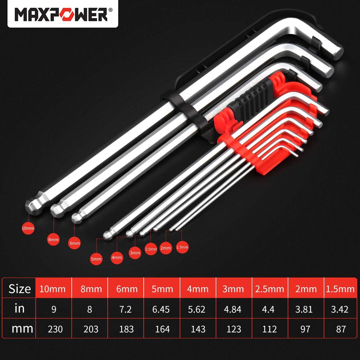 finitura satinata Maxpower Set di chiavi esagonali con punta a sfera 9 pezzi