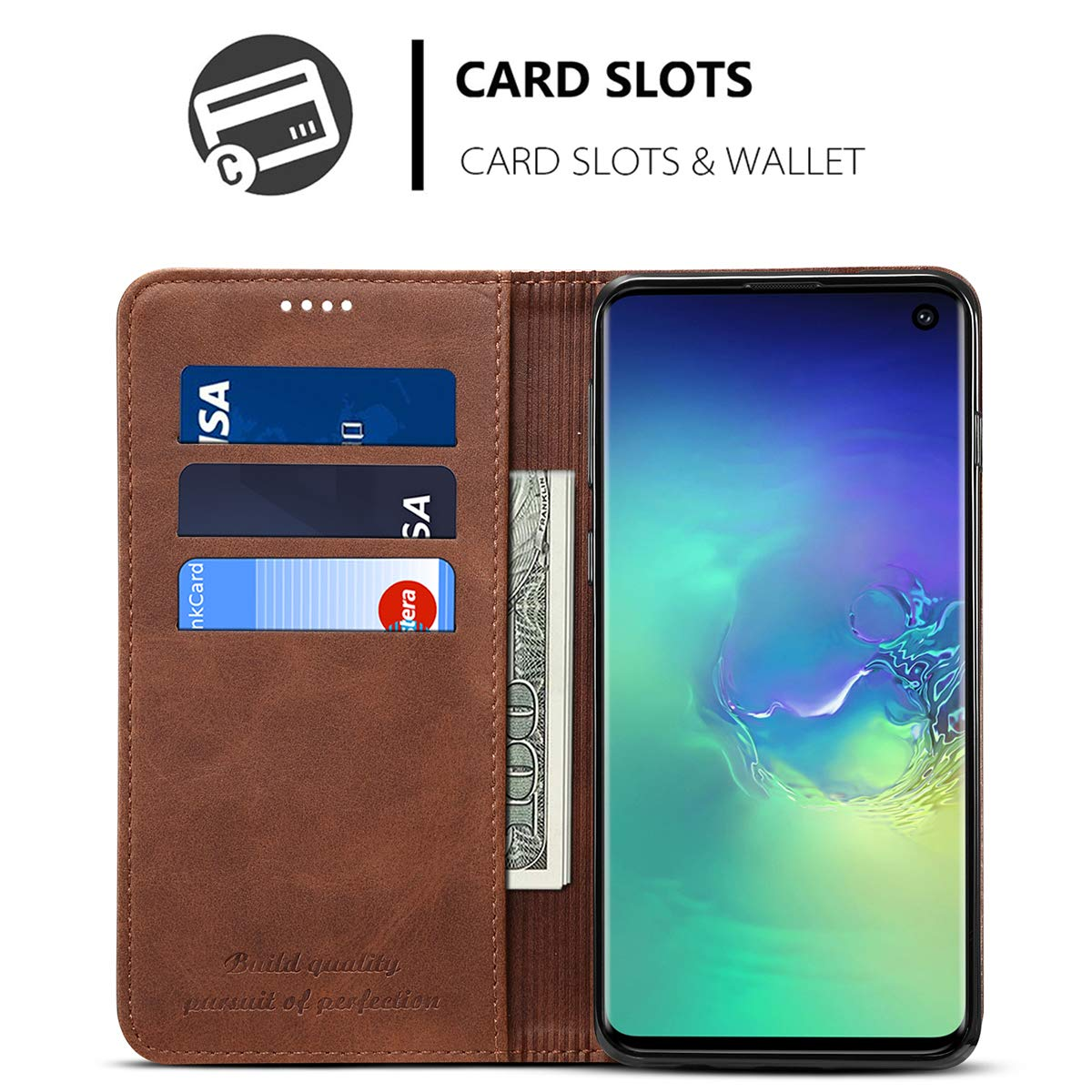 Leather Wallet Case for Samsung Galaxy S10//S10 //S10e Potective Phone Kickstand Flip Cover with Card Holder