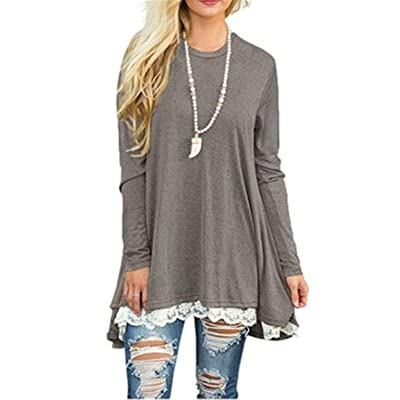 Aworth Womens Tops and Blouses Long Sleeve Splice Shirt Women Tunic Top Casual Loose Patchwork Lace Blouse Shirt Pullover XXL