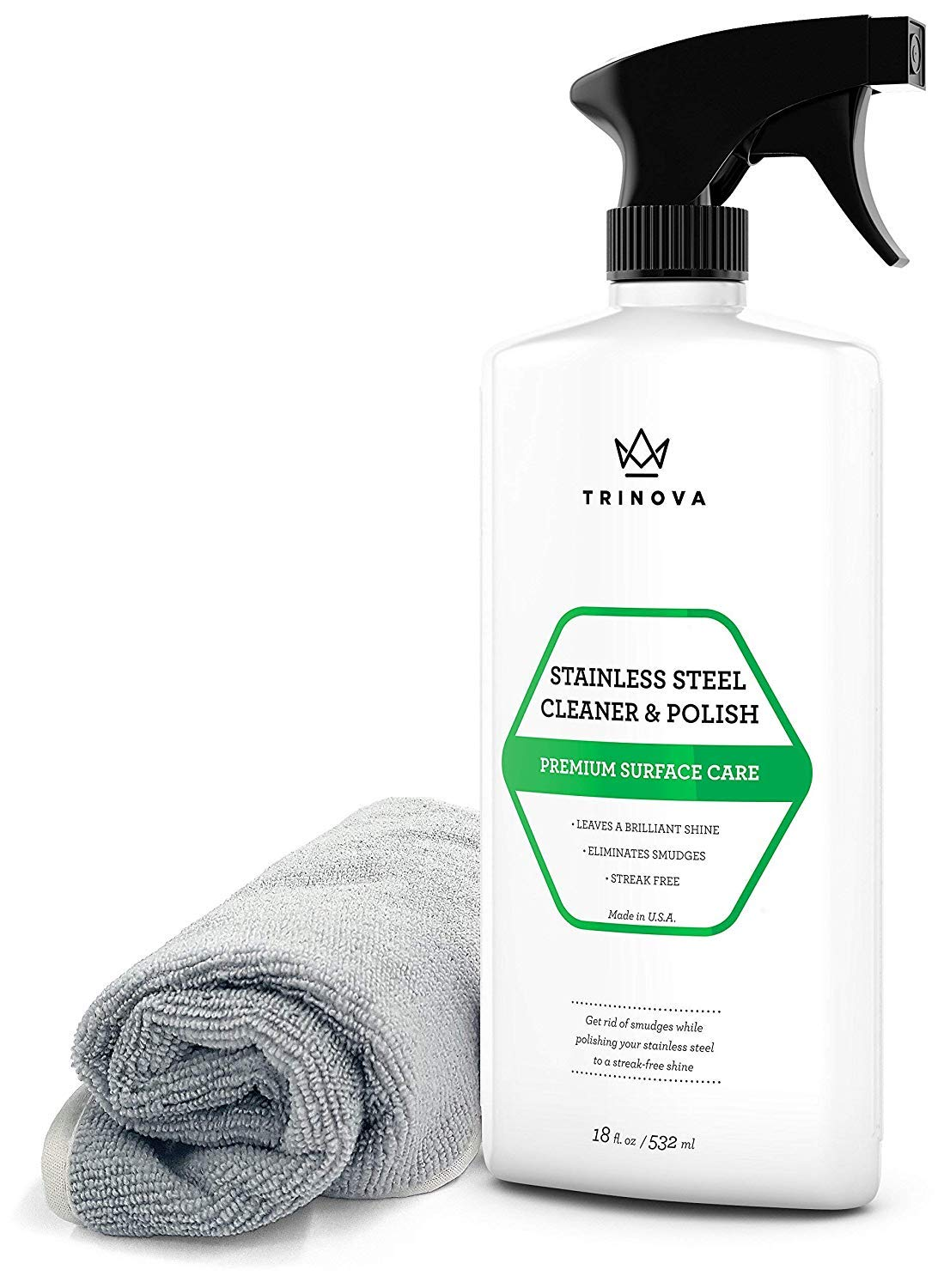 TriNova Stainless Steel Cleaner and Polish for Commercial Refrigerators with Microfiber Cleaning Cloth. Cleaning Spray for Appliances, Fridge, Microwave Oven, Kitchen. 16oz
