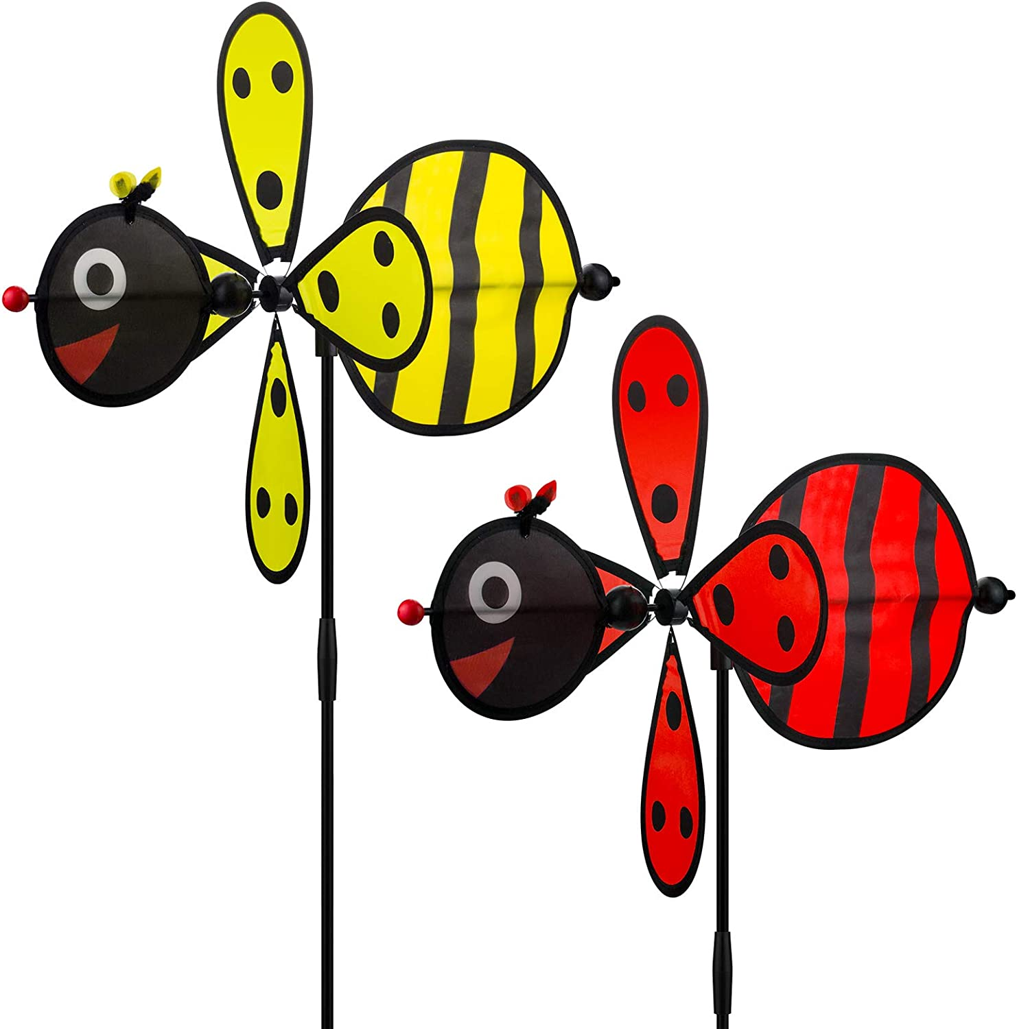 Wind Spinners Outdoor, Garden Spinners Yard Spinners Party Pinwheels for Kids Wind Spinner Beetle Windmills Decorations Outdoor for Yard Patio Lawn & Garden - Surprise and Lovely Gift for Kid (2 Pack)