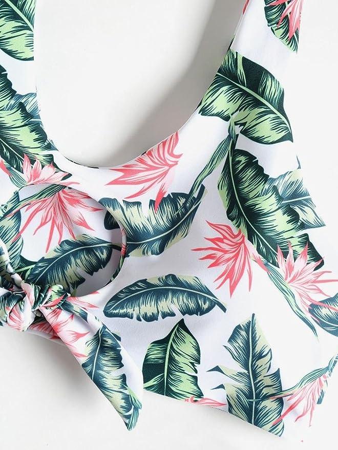 PAOLIAN Trajes de baño de Dos Pieza Bikini Sexy Mujer Verano 2018 Ropa de Bañador Playa Impreso Floral y Hojas Camisolas y Pareos señora Ropa de baño Heuco ...