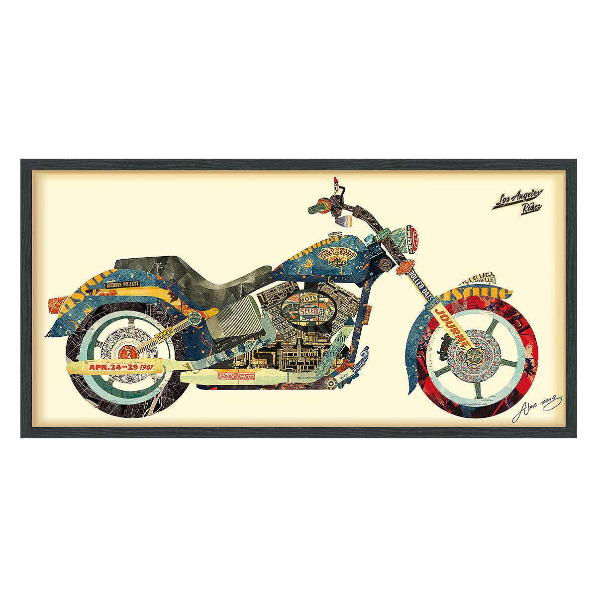 Empire Art Direct ''Los Angeles Rider'' Dimensional Art Collage Hand Signed by Alex Zeng Framed Graphic Wall Art