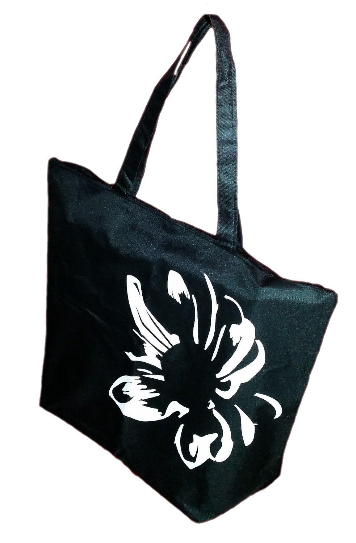 Black Large Flower Silhouette Zipper Top Beach Bag Tote