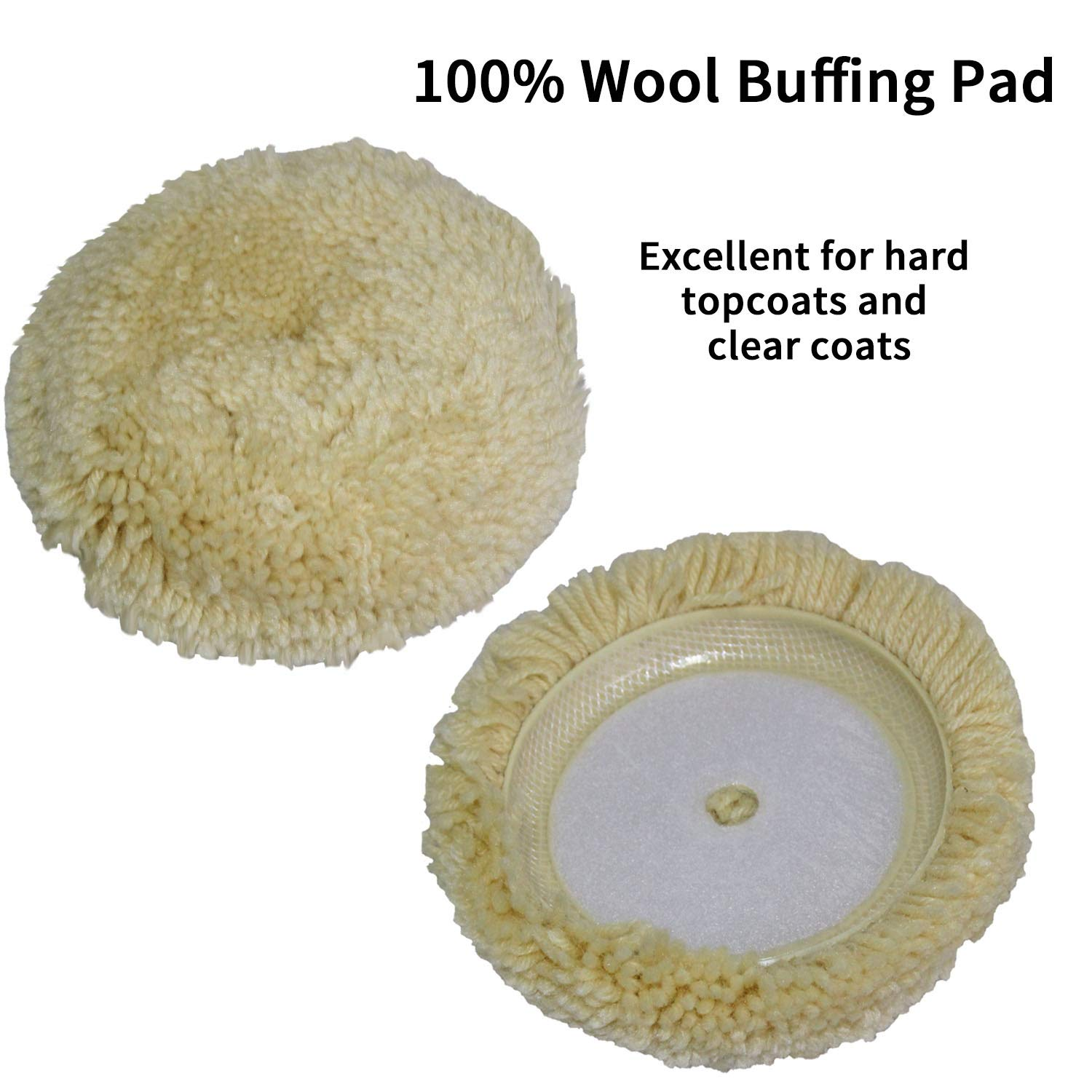 Polishing Pad Buffing Wheel Kit 10PCS with Waffle Foam & Lambs Wool Hook and 6inch Polishing Buffer Wool with M14 Drill Adapter Fit for Metal Aluminum Stainless Steel Chrome Wood Plastic Glass etc by Medoon (Image #3)