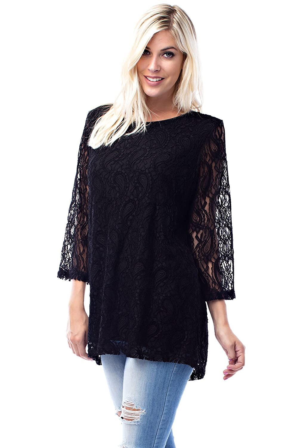 825471a82db P206RX:Soft stretch premium knit fabric blouse with lace yoke and shoulders.  Bell sleeves. P186RX:Soft stretch premium knit fabric blouse with lace  yoke, ...