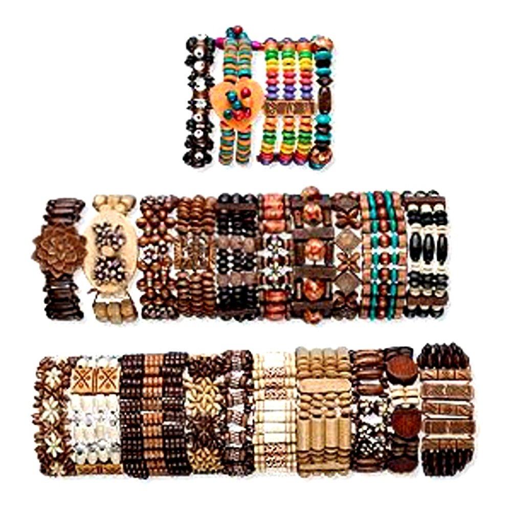 Boho Wood Bracelets Adjustable Unisex Set of 24 Different Bracelets by Charmed By Dragons (Image #1)