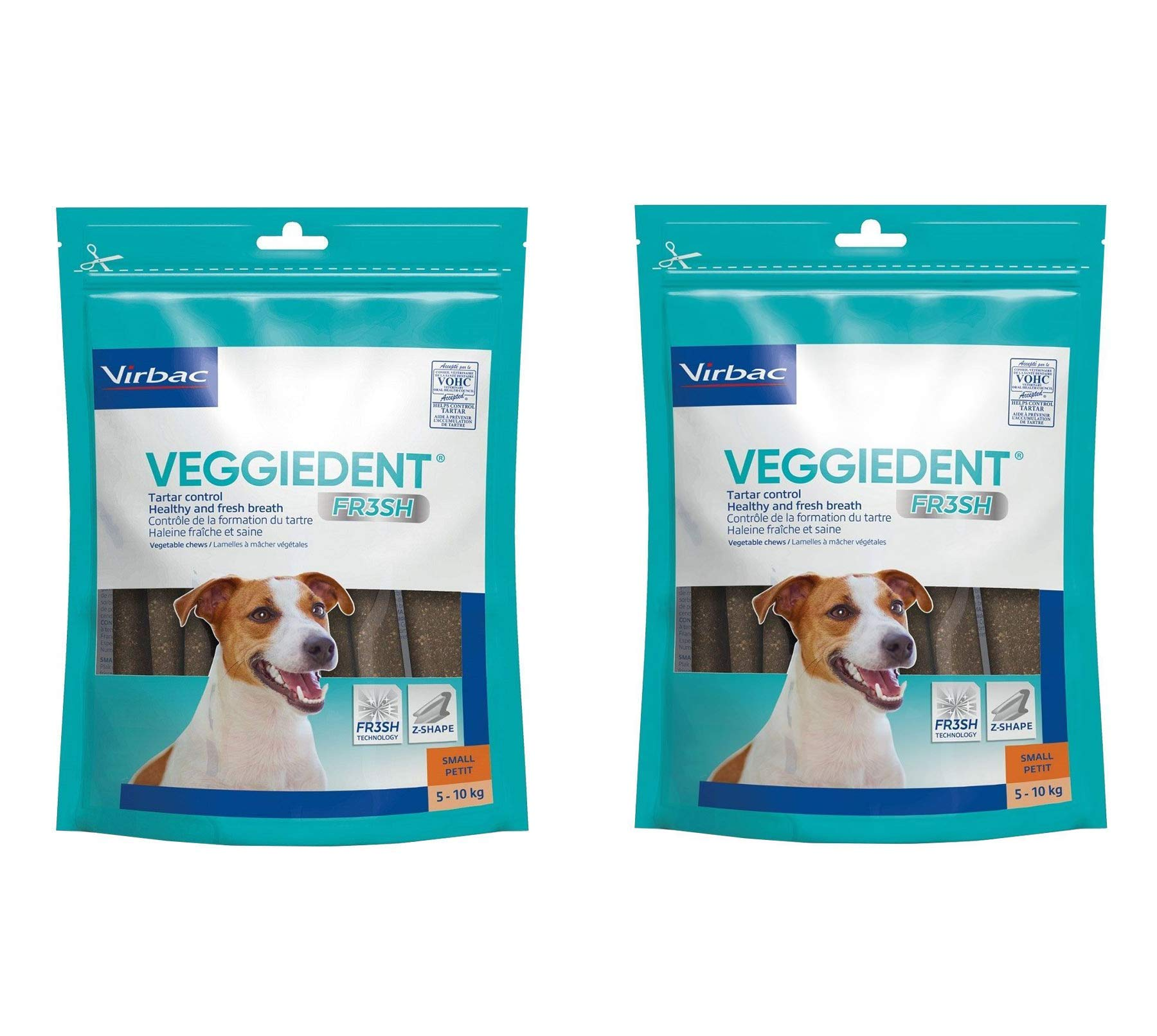 Virbac C.E.T. VEGGIEDENT Tartar Control Chews for Dogs, Small 30 ea (Pack of 2)