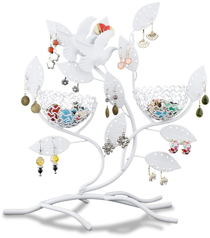 Grinscard Portagioie a forma di ramo con nidi Espositore per orecchini e piccoli gioielli Bianco 31 x 30 x 11 cm
