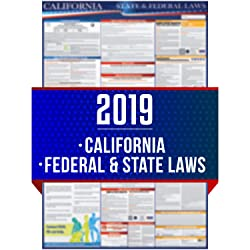 "2019 (New) California State and Federal Labor Laws Poster - OSHA Workplace Compliant 24"" x 36"" - All in One Required Posting - UV Coated"