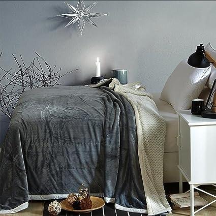 Rollsnownow Manta engrosamiento gris plata otoño e invierno Aire acondicionado sábanas toalla edredón (Tamaño :
