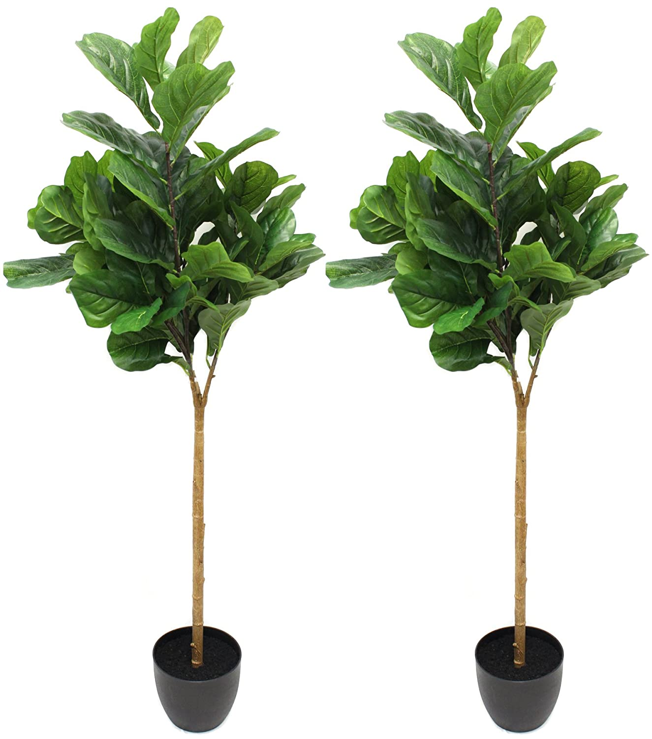 (2 Pack) 5 Foot Fiddle Leaf Fig Tree - Realistic Artificial Home Decor (2) Silk Road Home