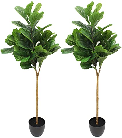 2 pack 5 foot fiddle leaf fig tree realistic artificial home decor - China Kitchen Green Bay 2