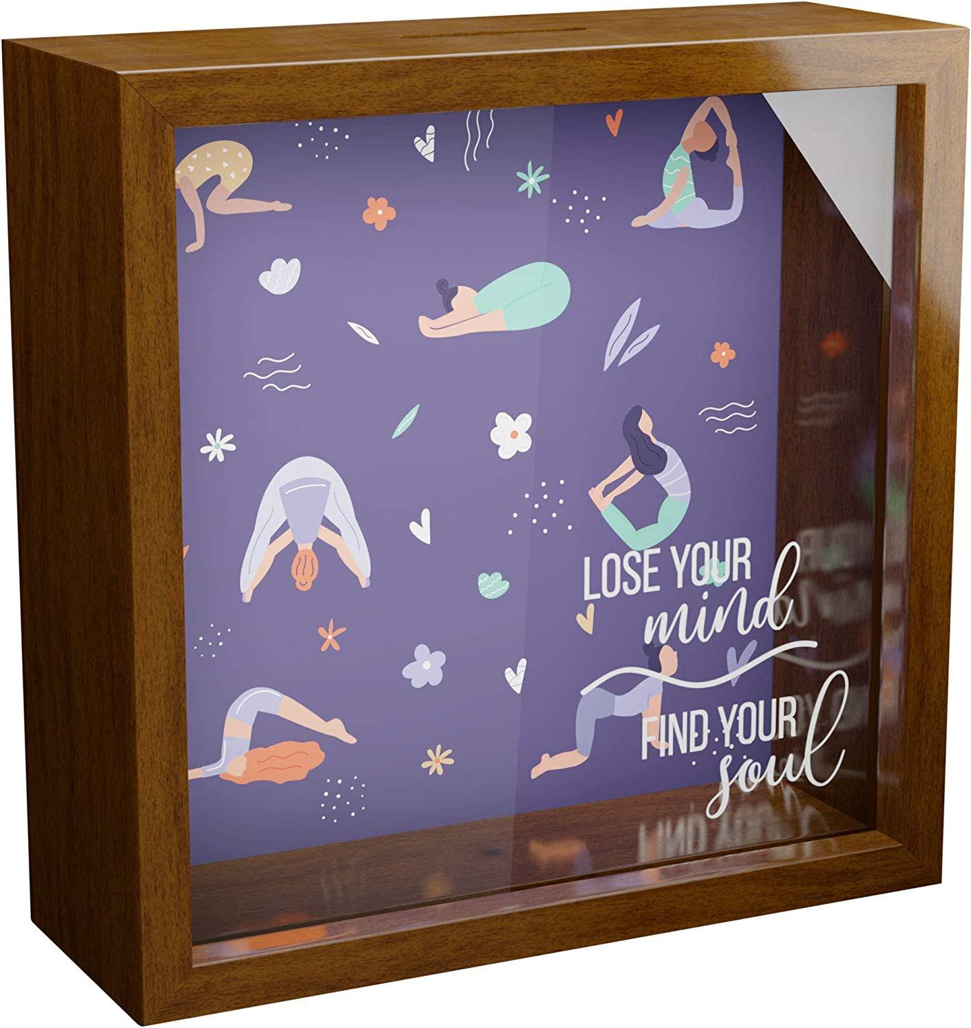 Yoga Gifts   6x6x2 Wooden Shadow Box   Great Gift for Yoga Lover   Glass Fronted Memory Box for Women   Zen Inspired Wall Decor for Home & Studio   Special Keepsake Present for Yoga Instructor