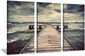 Pier Canvas Wall Art Picture: Coastal Artwork Seascape Painting Print on Canvas for Living Room (26'' x 16'' x 3 Panels)