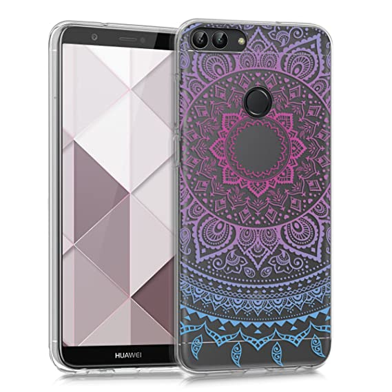 kwmobile TPU Silicone Case for Huawei Enjoy 7S / P Smart - Crystal Clear Smartphone Back Case Protective Cover - Blue/Dark Pink/Transparent