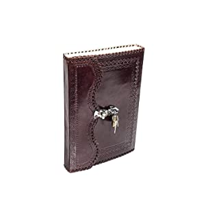 Handmade Goat Leather Journal Real Lock & Key Notebook Diary Sketch Book Thought Book 10x7Inches