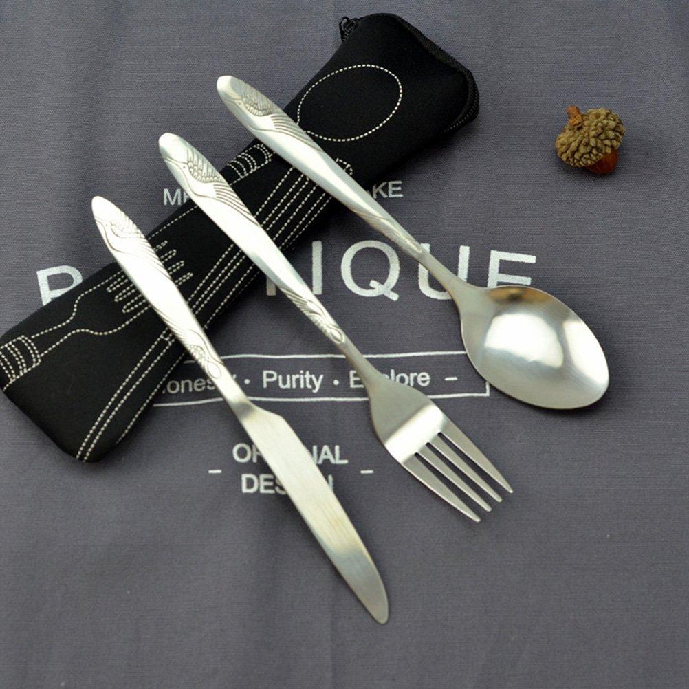 BESTONZON Set de vajilla de acero inoxidable de 3 piezas incluye cuchillo, tenedor, cuchara, bolsas - Set de cubiertos de viaje/cubiertos de viaje ...