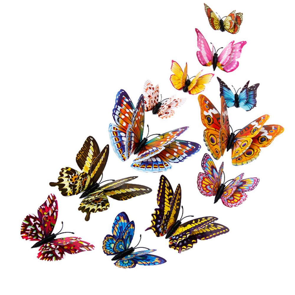 12 Pieces 3D Butterfly Design Decoration Art Wall Stickers Room Magnetic Home Decor (Multicolor)
