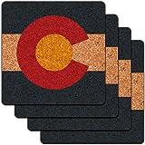 Colorado State Flag Low Profile Cork Coaster Set