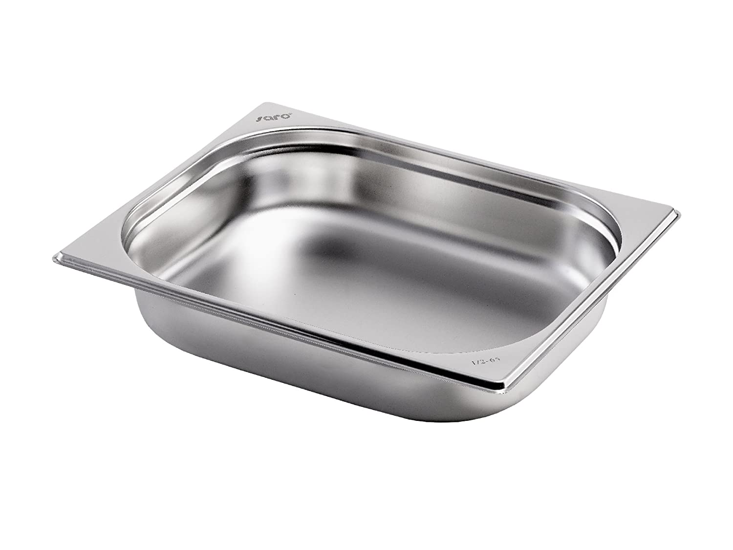 Saro Gastronorm Container 1/2 Stainless Steel 200 mm Deep, Silver, 26.5 x 32.5 x 20 cm 1/2 GN 200 mm tief