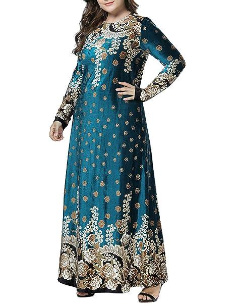 besbomig Mujer Elegancia Maxi Vestido Holgado Vestido Musulmanes Batas Partido Vestidos - Manga Larga Kaftan Dubai Ropa: Amazon.es: Ropa y accesorios