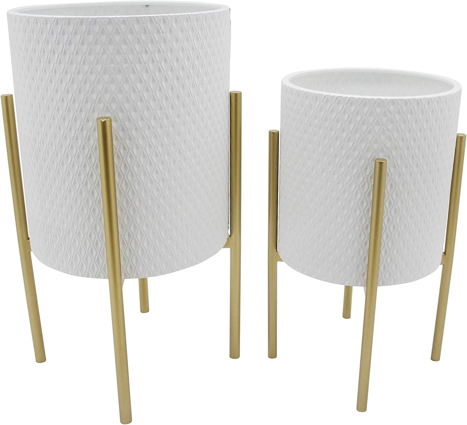 Sagebrook Home 12629-06 Honeycomb Planter On Metal Stand, White/Gold (Set of 2), 14''L x 14''W x 23''H, 2 Count