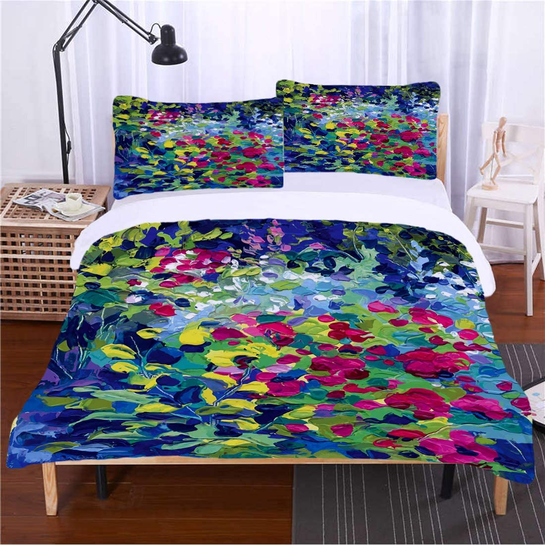 Bedding 3 Piece Duvet Cover Set Art Floral Field Vivid Toned Pastel Flourishing Fragrance Botany Summer Petals Picture Decorative 2 Pillowcases Luxury Quality Soft Lightweight Breathable,QUEEN