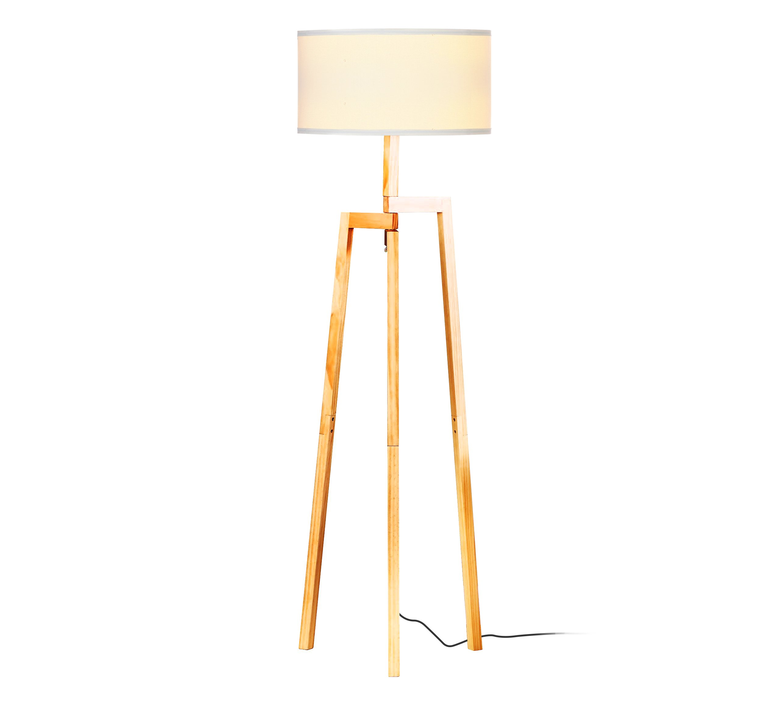 Brightech New Mia LED Tripod Floor Lamp– Modern Design Wood Mid Century Style Lighting for Contemporary Living or Family Rooms- Ambient Light Tall Standing Survey Lamp for Bedroom, Office- White Shade by Brightech (Image #1)
