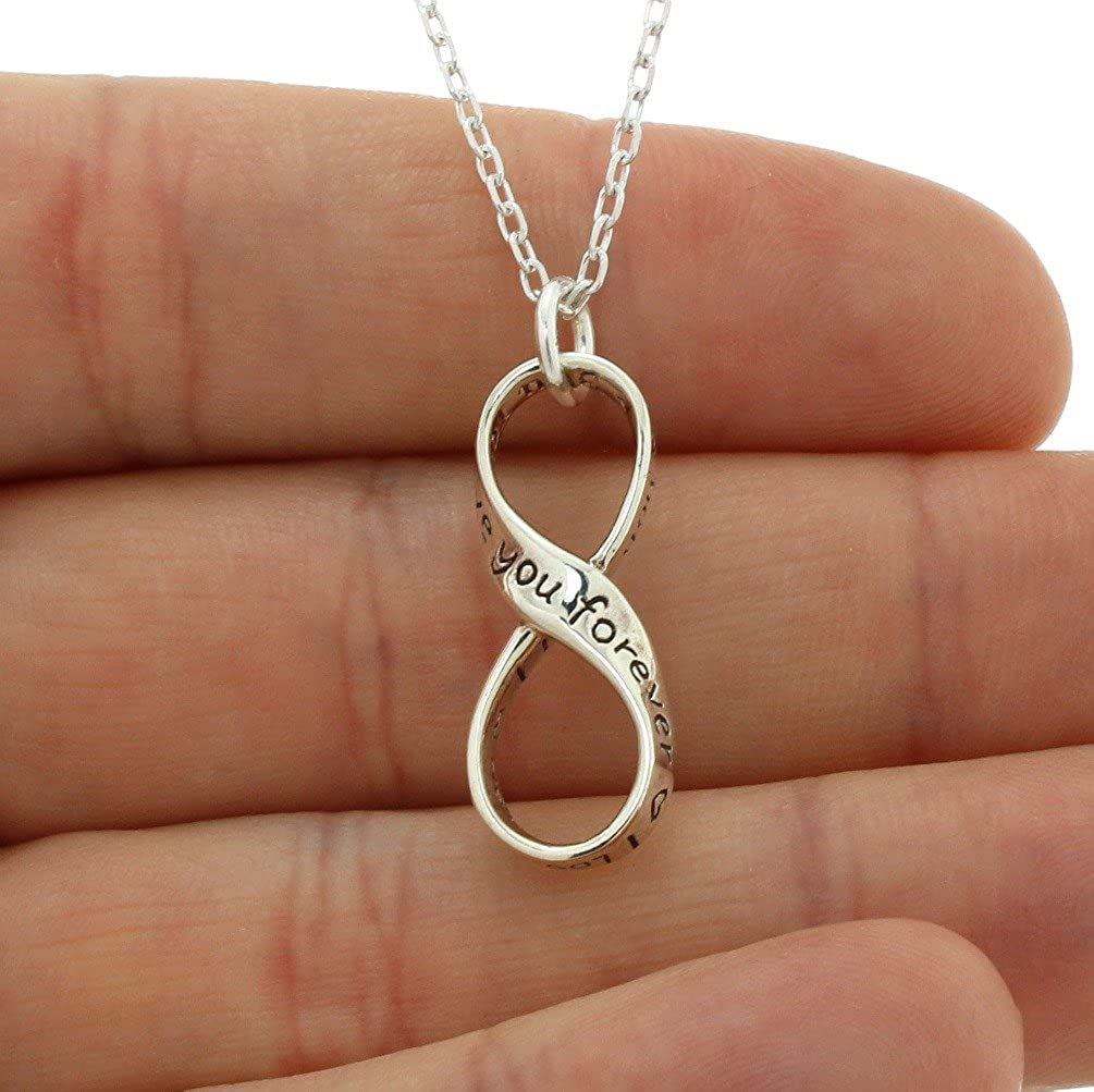 Infinity Love Necklace Sterling Silver I love you forever Pendant 18 Cable Chain