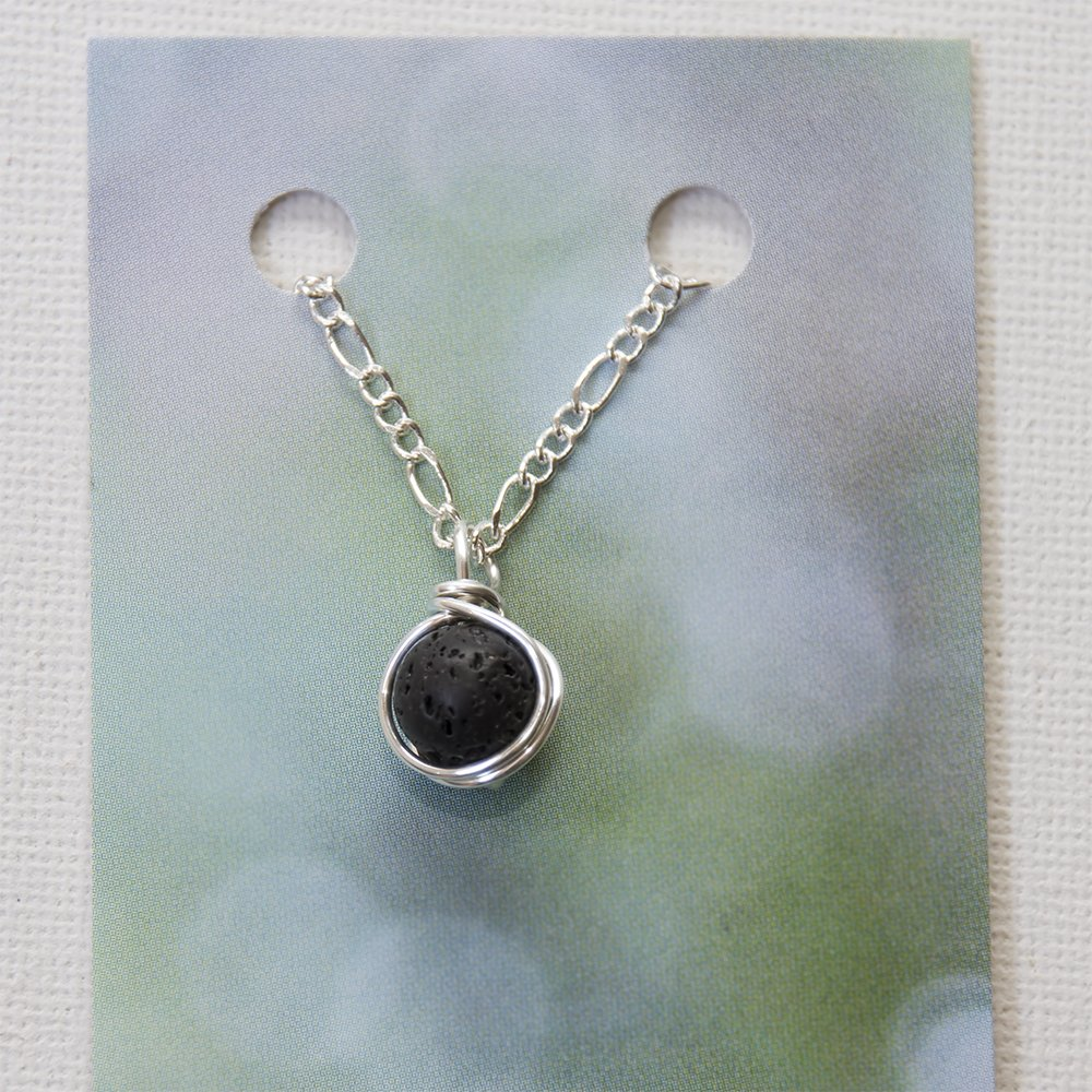 Hand Cut Green Lava Rock Igneous Rock Pendant Sterling Silver Wire Wrapped Jewelry Necklace