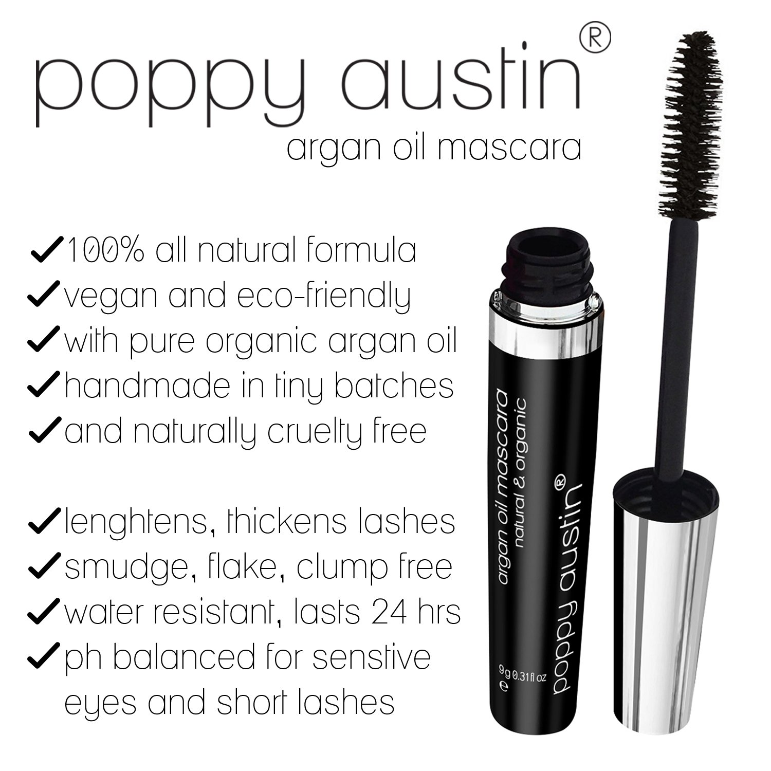 5a5b96d6afe FINEST Vegan & Organic Lengthening Mascara Black With Argan Oil - Cruelty- Free, Best Natural Volumising, Thickening, Smudge Proof, Hypoallergenic, ...