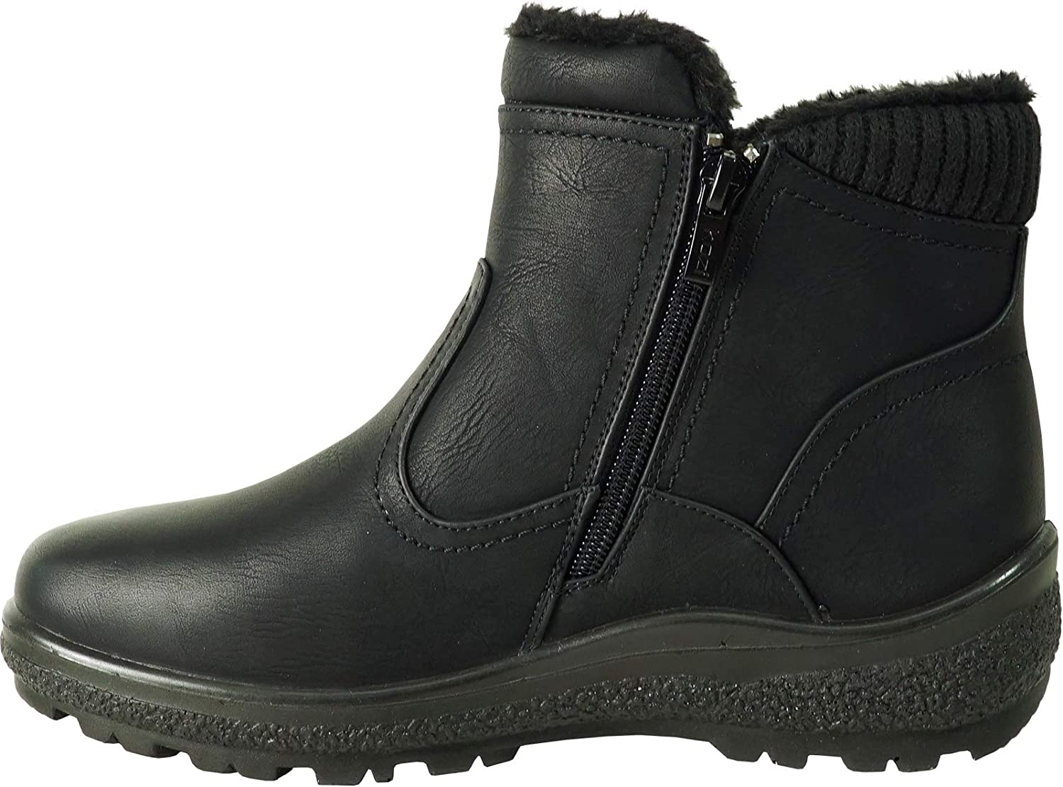 kozi Canada Women Casual Ankle to Mid Calf Winter Boot Karla and NINA Fur Boot with Zipper Black