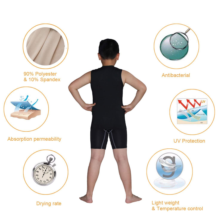 Boys Tank Tops and Shorts Kids Athletic Base Layer Set Moisture Wicking T-Shirts Bottom 2pcs