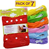Bembika Baby Pocket Cloth Diapers Reusable Cloth Diapers Washable Adjustable Cloth Diapers One Size Adjustable Reusable (7 Pack) (0-2 Years) (No Inserts Included)
