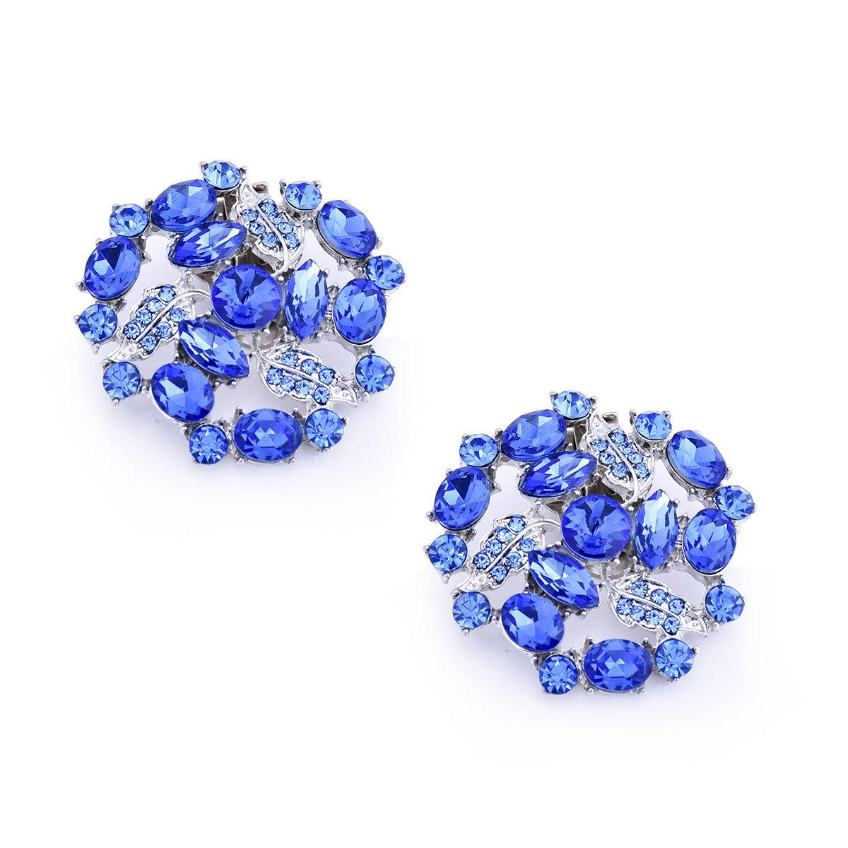 ElegantPark AM Women Rhinestones Decoration Wedding Party Shoe Clips 2 Pcs Blue