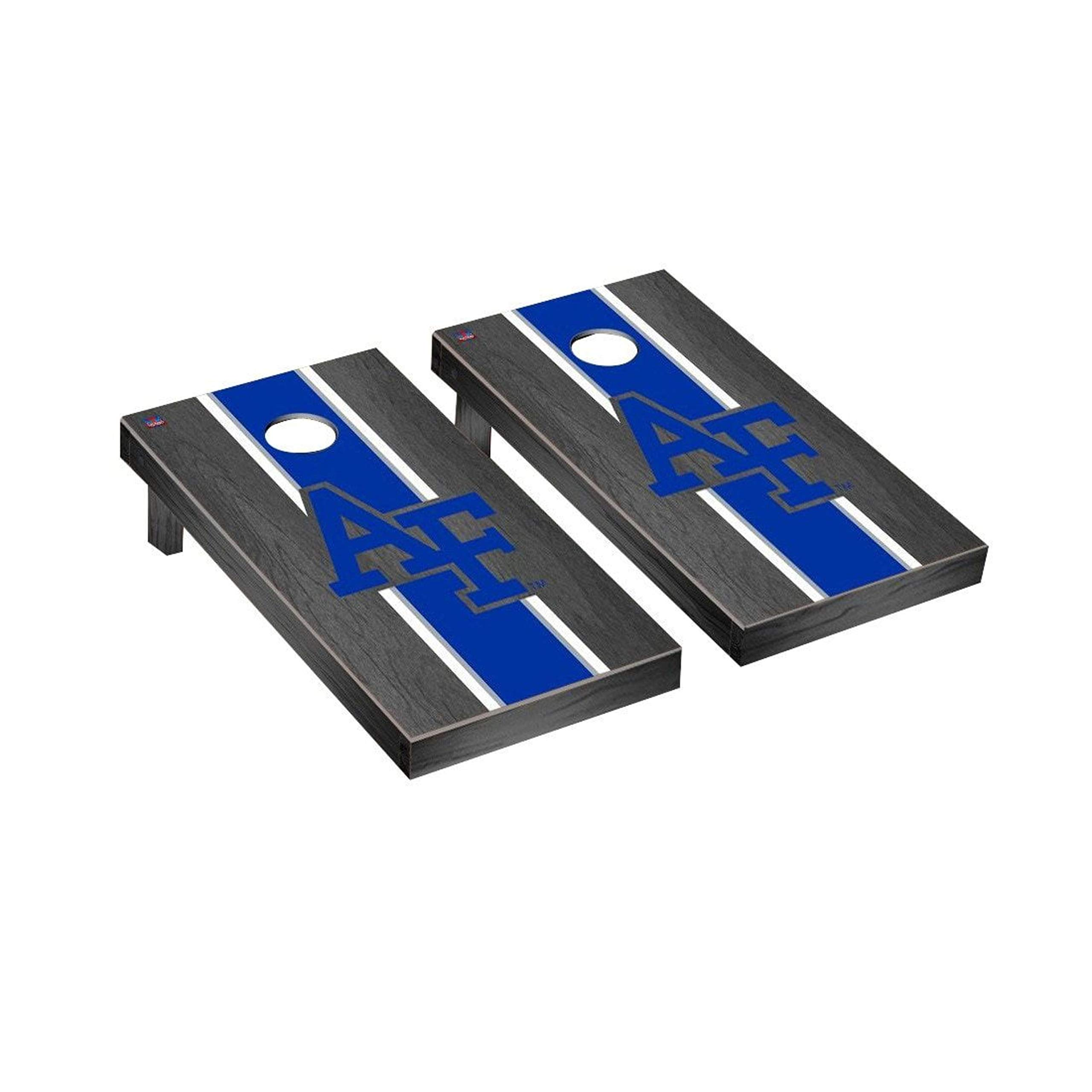 Victory Tailgate Regulation Collegiate NCAA Onyx Stained Stripe Series Cornhole Board Set - 2 Boards, 8 Bags - Air Force Academy Falcons