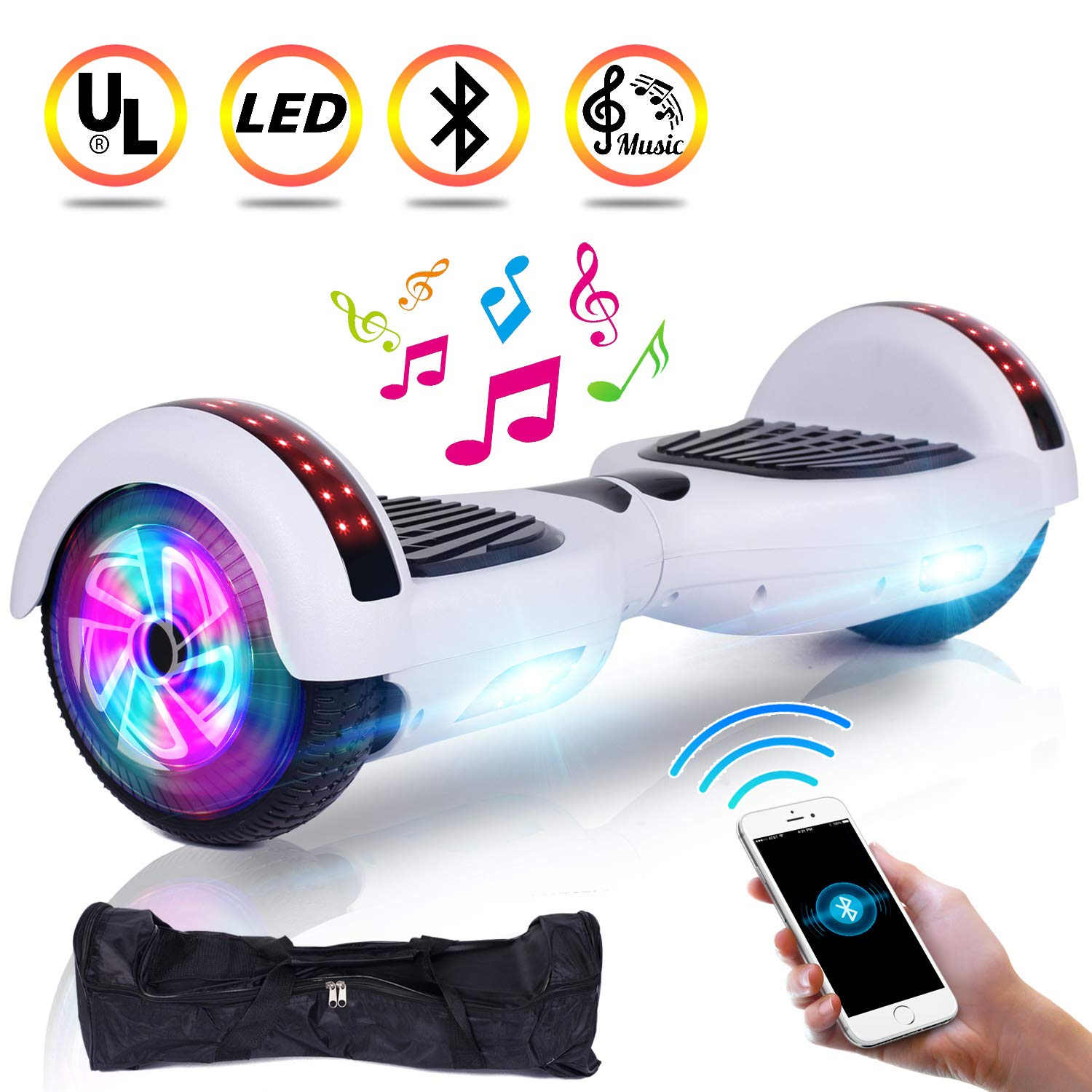 UNI-SUN 6.5'' Hoverboard for Kids, Two Wheel Electric Scooter, Self Balancing Hoverboard with Bluetooth and LED Lights for Adults, UL 2272 Certified Hover Board(Ultimate White)