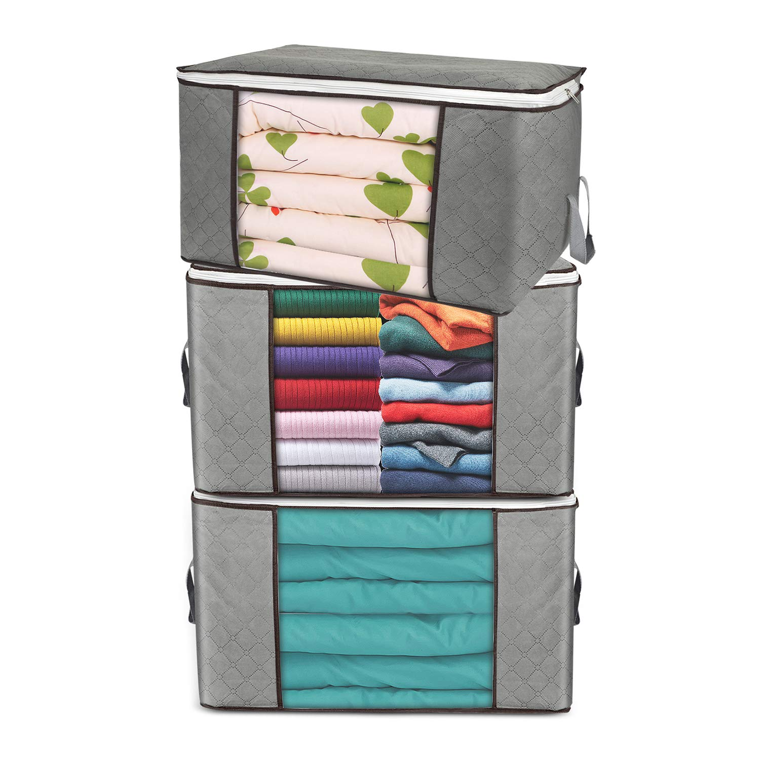 Large Storage Bags 3 Pack Clothes Storage Bins Foldable Closet Organizers Storage