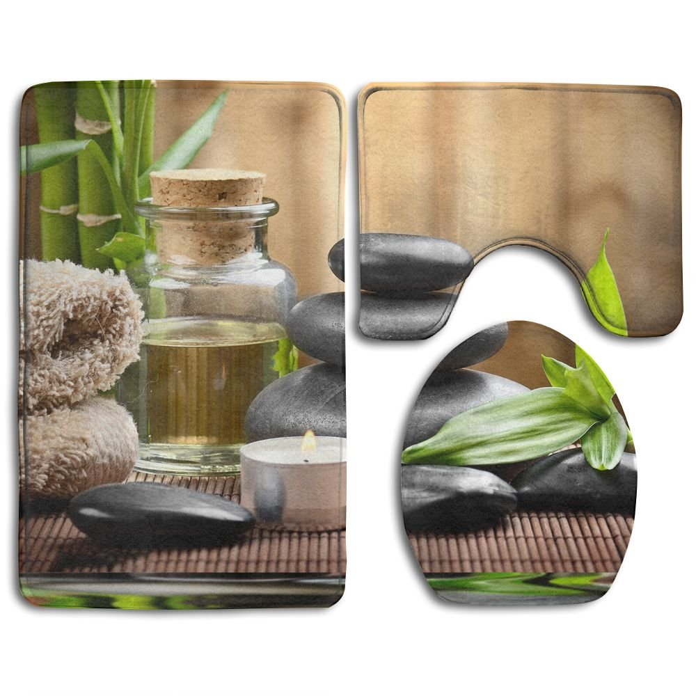 HOMESTORES Asian Zen Massage Stone Triplets With Herbal Oil And Scent Candles Skidproof Toilet Seat U Shape Cover Bath Mat Lid Cover 3 Piece Non Slip Bath Rug Mats Sets For Shower SPA